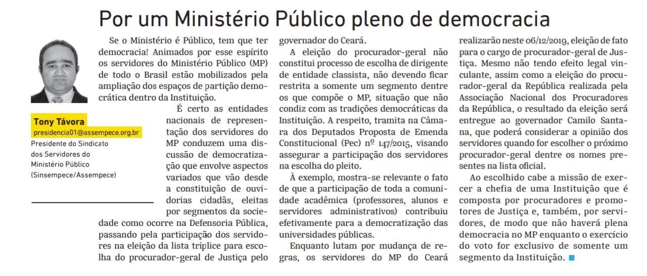 Artigo do presidente do Sinsempece sobre Eleição Paralela é destaque no Jornal O Povo