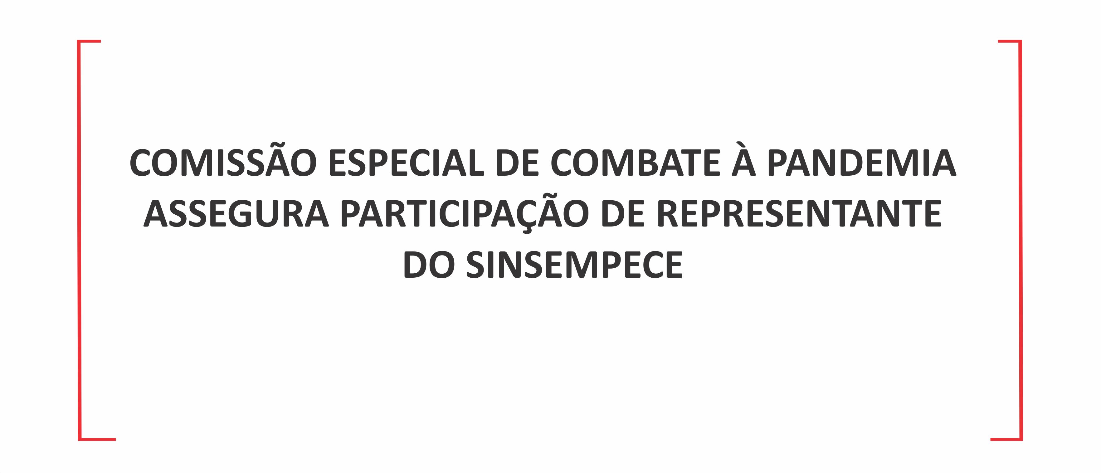 Comissão Especial de Combate à Pandemia assegura participação de representante do Sinsempece